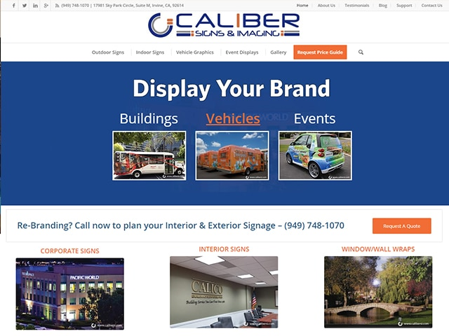 Caliber Signs & Imaging Website