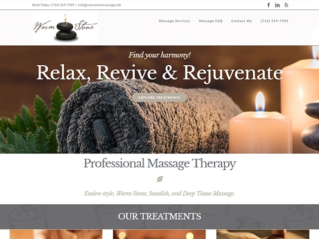 Warm Stone Massage Website