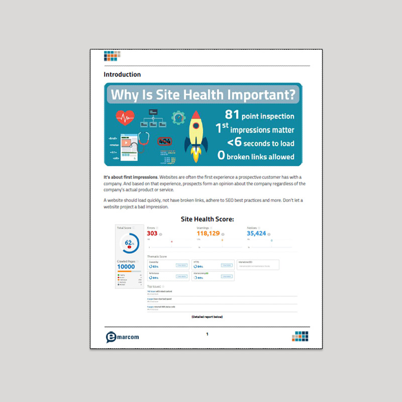 Emarcom Site Health Report Sample - Page 2